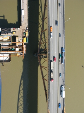 Looking down from N1 pylon-existing structure